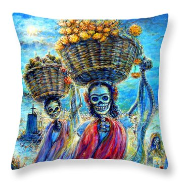Ofrendas Throw Pillow by Heather Calderon