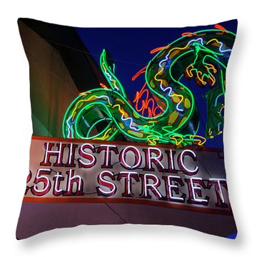 Ogden's Historic 25th Street Neon Dragon Sign Throw Pillow by Gary Whitton