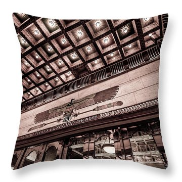 Ogden's Historic Peery's Egyptian Theater At Night  Throw Pillow by Gary Whitton