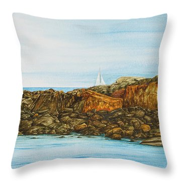 Ogunquit Maine Sail And Rocks Throw Pillow