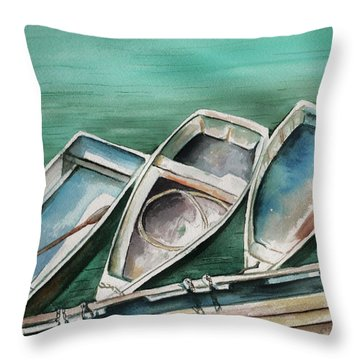 Ogunquit Maine Skiffs Throw Pillow