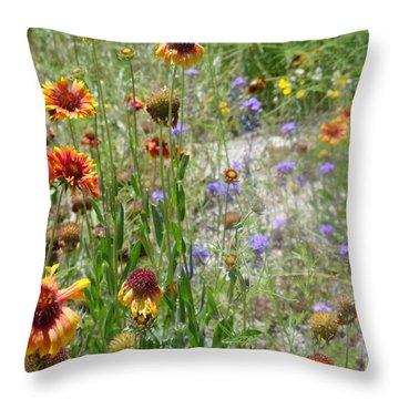 Oh Hi Orange Red Purple Flowers Throw Pillow