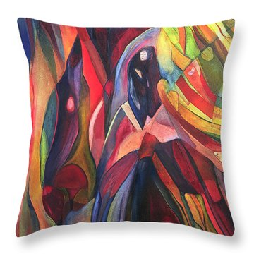 Throw Pillow featuring the painting Oh Master, Me by Linda Cull