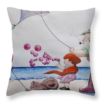 Throw Pillow featuring the painting Oh My Bubbles by Geni Gorani