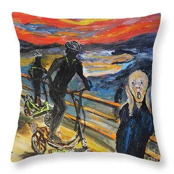 Oh No,elliptigo Throw Pillow