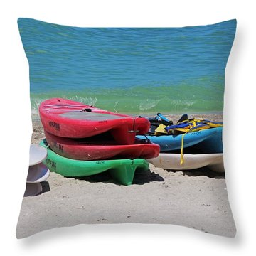 Throw Pillow featuring the photograph Oh The Beach Life by Michiale Schneider
