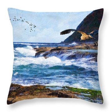 Throw Pillow featuring the painting Oh The Wind And The Waves by Lianne Schneider