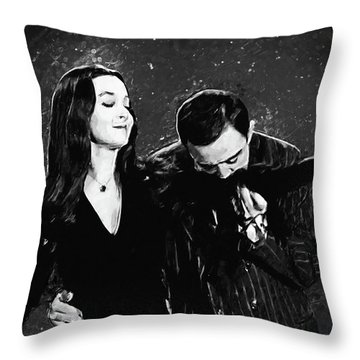 Throw Pillow featuring the digital art Oh Tish I Love It When You Speak French - The Addams Family  by Taylan Apukovska