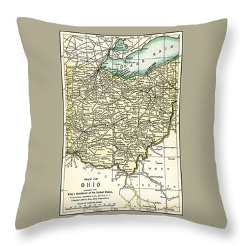 Ohio Antique Map 1891 Throw Pillow