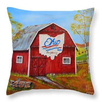 Ohio Bicentennial Barns 2 Throw Pillow by Melvin Turner