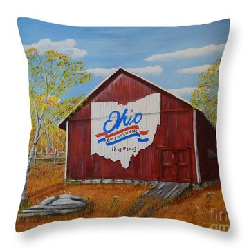 Ohio Bicentennial Barns 22 Throw Pillow by Melvin Turner