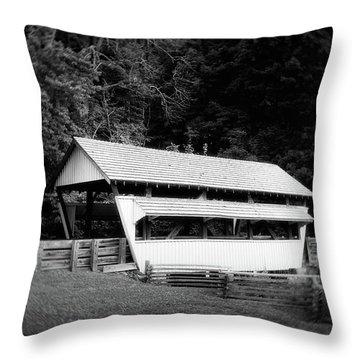 Ohio Covered Bridge In Black And White Throw Pillow
