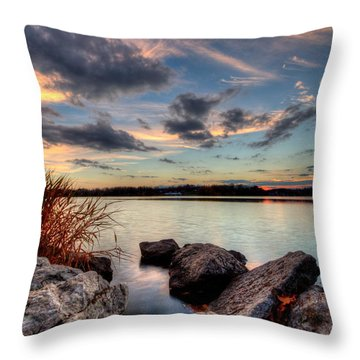 Ohio Fall Sunset Throw Pillow