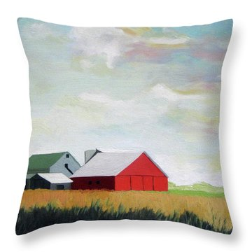 Ohio Farmland- Red Barn Throw Pillow