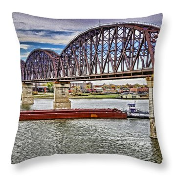 Ohio River Bridge Throw Pillow by Dennis Cox