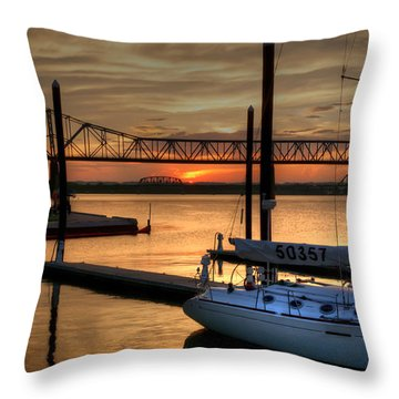 Ohio River Sailing Throw Pillow