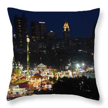 D3l-464 Ohio State Fair With Columbus Skyline Throw Pillow