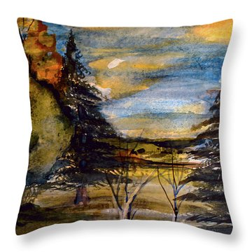 Throw Pillow featuring the painting Ohio Sunset by Mindy Newman