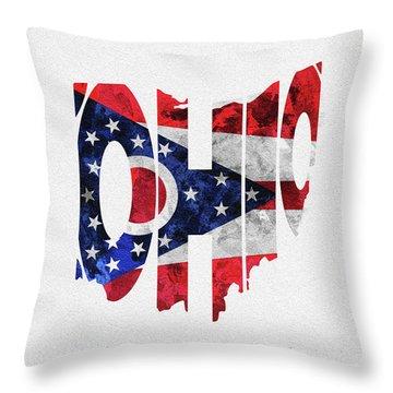 Ohio Typographic Map Flag Throw Pillow
