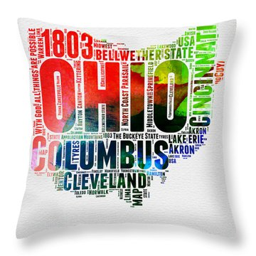 Ohio Watercolor Word Cloud Map  Throw Pillow