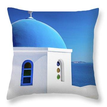 Oia Chapel Throw Pillow