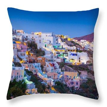 Oia Hillside Throw Pillow