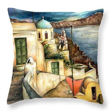 Oia Santorini Greece - Watercolor Throw Pillow