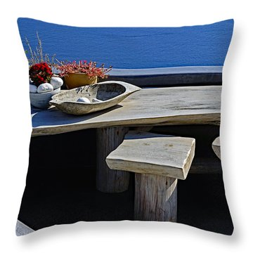 Oia Still Life On The Greek Island Of Thira Throw Pillow