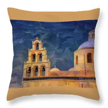 Throw Pillow featuring the photograph Oia Sunset Imagined by Lois Bryan