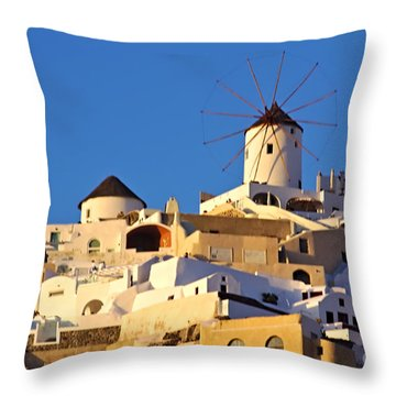 Oia Windmill Throw Pillow