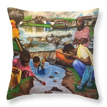 Oil- Africans' Wealth And Woe Throw Pillow