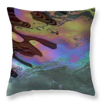 Oil And Flag At Pearl Harbor Throw Pillow