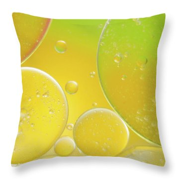 Oil And Water Bubbles  Throw Pillow