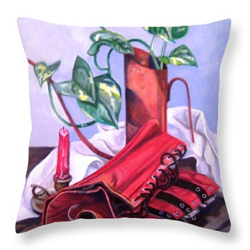 Oil Can And Corset Throw Pillow
