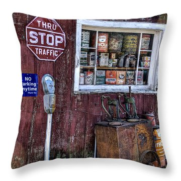 Oil Cans Throw Pillow by Janice Adomeit