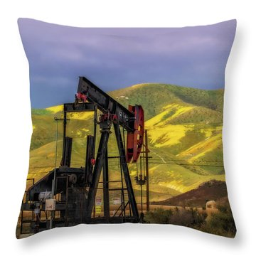 Throw Pillow featuring the photograph Oil Field And Temblor Hills by Marc Crumpler
