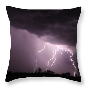 Oil Field Lightning Throw Pillow