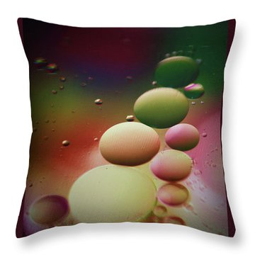 Oil Orbs And Colour Throw Pillow