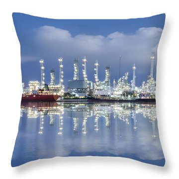 Oil Refinery Industry Plant Throw Pillow
