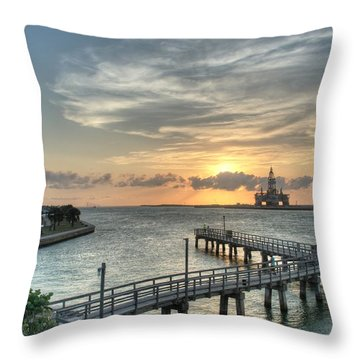Oil Rig In Gulf Throw Pillow