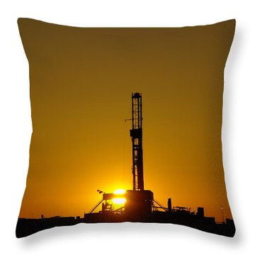Oil Rig Near Killdeer In The Morn Throw Pillow by Jeff Swan