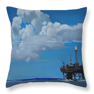 Oil Rig Near The Shetland Islands Throw Pillow