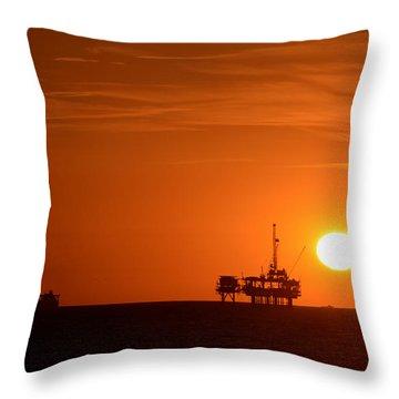 Oil Rigs Huntington Beach Throw Pillow
