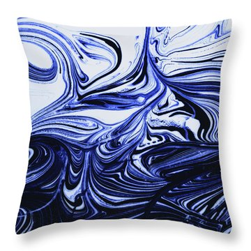Oil Swirl Blue Droplets Abstract I Throw Pillow