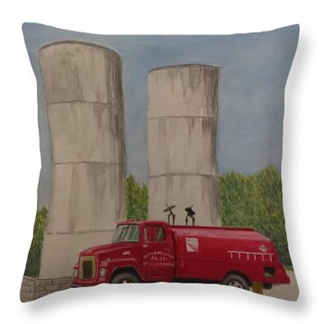 Oil Truck Throw Pillow