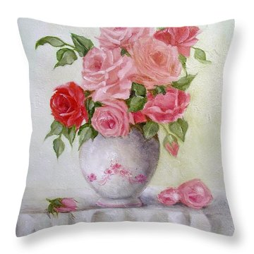 Oil Vase Rose Throw Pillow
