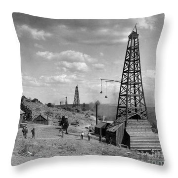 Oil Well, Wyoming, C1910 Throw Pillow
