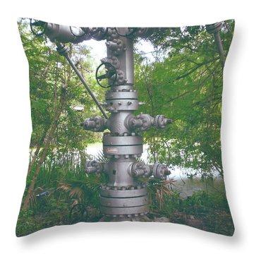 Oilfield Christmas Tree  Throw Pillow by Joseph Baril