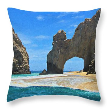 Lands End Arch - Digitally Painted Throw Pillow