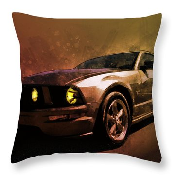 Oily Mustanger Slipping Into Darkness Watercolour Throw Pillow